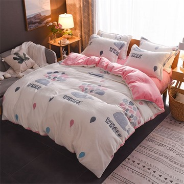 White Whale Reversible Flannel Warm Kids 4-Piece Fluffy Bedding Sets/Duvet Cover