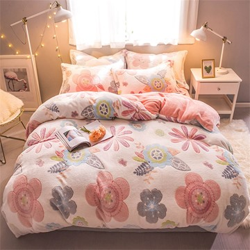 White Flower Reversible Flannel Warm Kids 4-Piece Fluffy Bedding Sets/Duvet Cover
