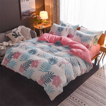 Leaf And Flower Reversible Flannel Warm Kids 4-Piece Fluffy Bedding Sets/Duvet Cover