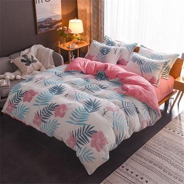 Leaf And Flower Reversible Flannel Warm Kids 4-Piece Fluffy Bedding Sets/Duvet Cover