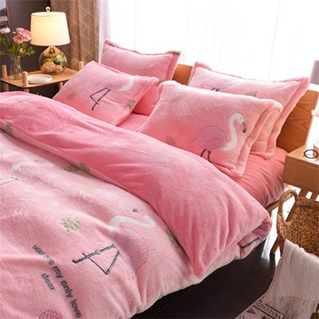 Pink Flamingo Reversible Flannel Warm Kids 4-Piece Fluffy Bedding Sets/Duvet Cover