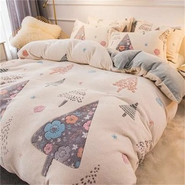 White Reversible Flannel Warm Cute Tree Kids 4-Piece Fluffy Bedding Sets/Duvet Cover
