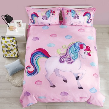 Cotton Unique Design Unicorn Princess Style 4-Pieces Girl Bedding Sets Duvet Cover