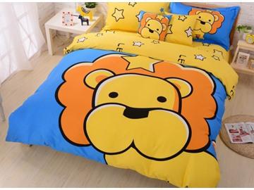 Yellow Cartoon Lion Print 4-Piece Cotton Duvet Cover Sets