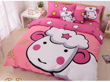 Cute Aries and Star Print 4-Piece Cotton Duvet Cover Sets
