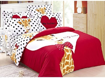 The Giraffe Prince Print 4-Piece 100% Cotton Duvet Cover Sets