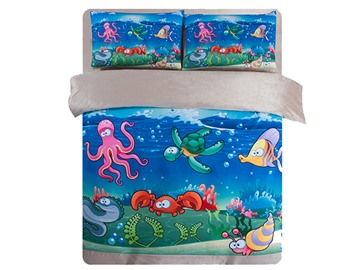 Super Cute Sea World Print 4-Piece Comfy Coral Fleece Duvet Cover Sets