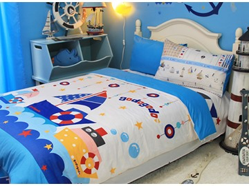 Sailng Boat Print 3-Piece Cotton Duvet Cover Sets