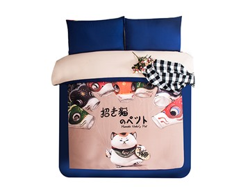 Lucky Cat Print 3-Piece Skincare Duvet Cover Sets