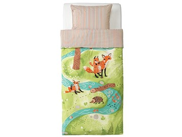 Fox and Hedgehog on Green Grass Print 2-Piece Soft Cotton Duvet Cover Sets