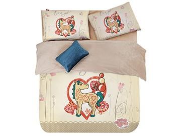 Super Cute Pony and Flower Print 3-Piece Duvet Cover Sets