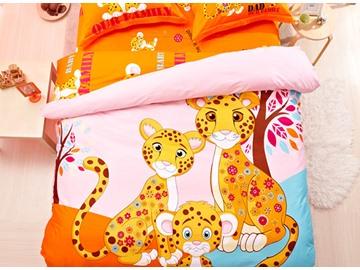Leopard Family Print 4-Piece Natural Cotton Duvet Cover Sets