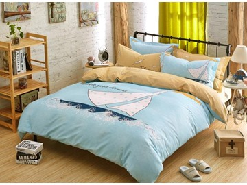 Sailing Boat and Blue Sea Print 4-Piece Duvet Cover Sets