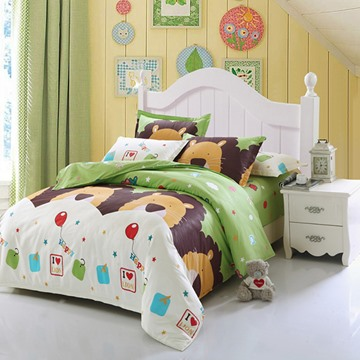 Super Lovely Lions 4-Piece 100% Cotton Kids Duvet Cover Sets