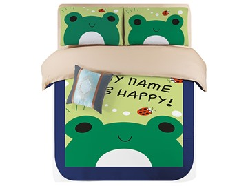 Bright Green Lovely Frogs Kids 4-Piece Duvet Cover Set