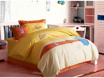 100% Cotton Lovely Blue Elephant Print Kids Duvet Cover Set