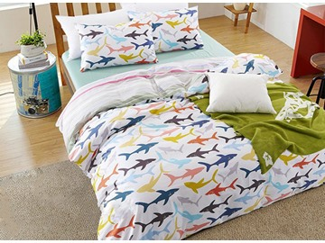 Cute Cartoon Sharks Print Cotton 4-Piece Duvet Cover Sets