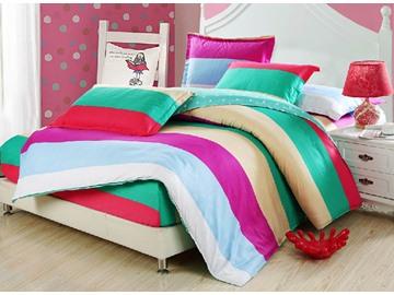 Lovely Color Block Design Kids 3-Piece Duvet Cover Set