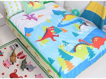 Lovely Dinosaurs Print Cotton 4-Piece Kids Duvet Cover Sets