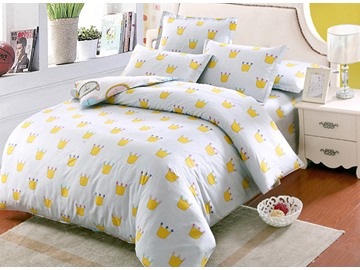 Cute Little Crown Pattern Kids 100% Cotton 4-Piece Duvet Cover Sets