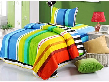 Colorful Stripes Pattern Purified Cotton Kids 3-Piece Duvet Covers/Bedding Sets