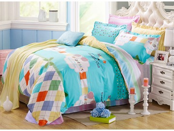 Trendy Plaid snad Letters Pattern Kids Cotton 4-Piece Duvet Cover Sets