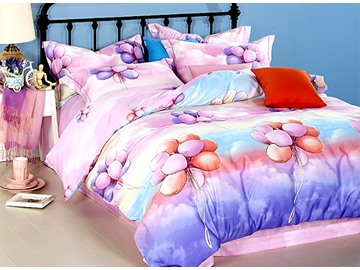 Bunch of Balloon Print Satin Cotton 4-Piece Duvet Cover Sets