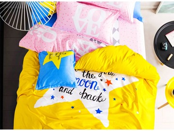 Five-pointed star with Yellow Background Print 4-piece Kids Cotton Duvet Cover Sets