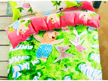Baby Animal and Green Paradise Print 4-piece Kids Cotton Duvet Cover Sets