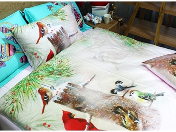 Woodpecker and Tree Print 3-piece Kids Cotton Duvet Cover Sets