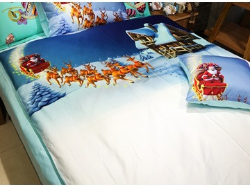 Fabulous Santa Claus and Elves in Snow Print 3-piece Kids Cotton Duvet Cover Sets