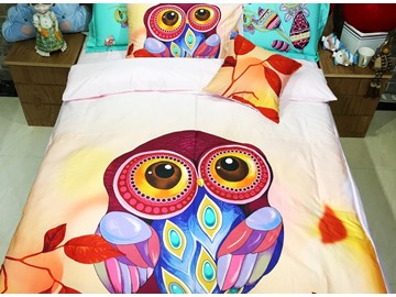 Charming Owl with Amazing Feathers Print 3-piece Kids Cotton Duvet Cover Sets