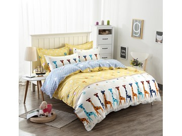 Giraffe Pattern Kids Cotton 4-Piece Duvet Cover Sets