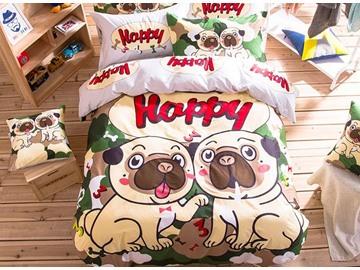 Two Puppies Pattern Kids Cotton 4-Piece Duvet Cover Sets