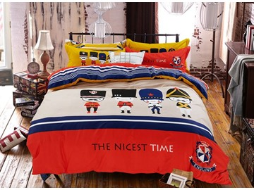 England Style Pattern Kids Cotton 4-Piece Duvet Cover Sets