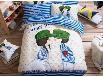 Sweet Lover Pattern Kids Cotton 4-Piece Duvet Cover Sets