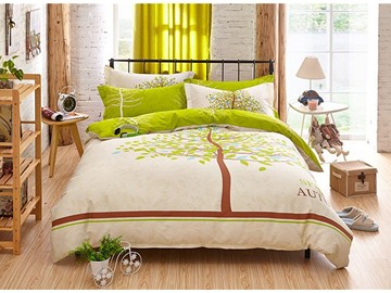 Green Tree Pattern Kids Cotton 4-Piece Duvet Cover Sets