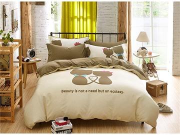 Lovers World Pattern Kids Cotton 4-Piece Duvet Cover Sets