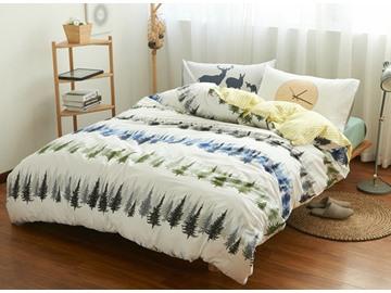 Fancy Pine Tree Print 4-Piece Cotton Duvet Cover Sets