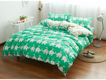 Cute Elephant Print Green 4-Piece Cotton Duvet Cover Sets