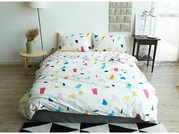Charming Colorful Geometric 4-Piece Cotton Duvet Cover Sets