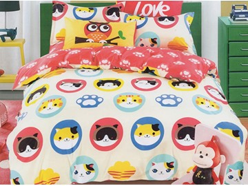 Colorful Cartoon Cats Pattern 3-Piece Cotton Duvet Cover Sets