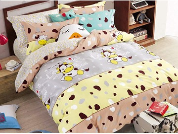 Cartoon Cow Printed Cotton Kids Duvet Cover/Bedding Sets