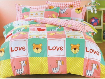 Happy Animals Pattern 3-Piece Cotton Duvet Cover Sets
