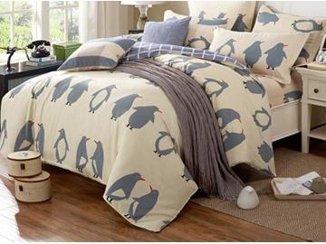 Super Cute Penguin Pattern Cotton 4-Piece Duvet Cover Set