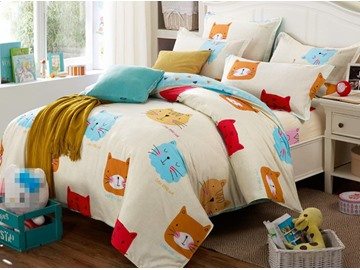 Lovely Kinds of Cats Pattern Cotton 4-Piece Duvet Cover Set