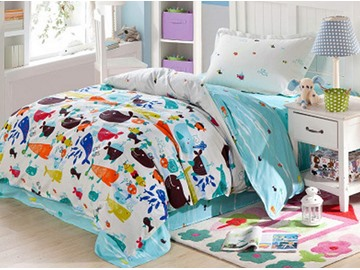 Cartoon Fishes Pattern 4 Pieces 100% Cotton Duvet Cover Sets