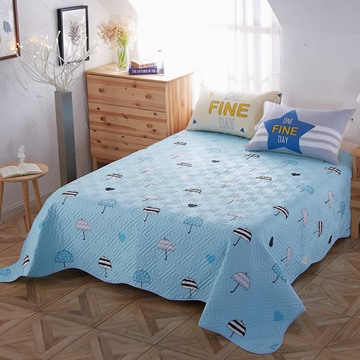 Umbrella Pattern Cotton and Polyester Queen Size 3-Piece Light Blue Bed In a Bag