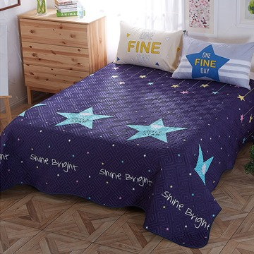 Star Pattern Cotton and Polyester Queen Size 3-Piece Dark Blue Bed in a Bag