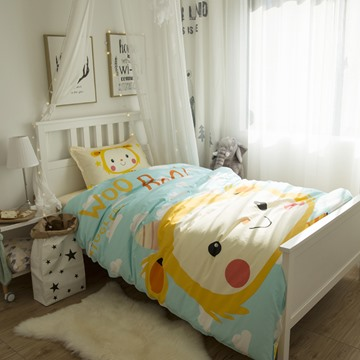 Cartoon Girl Printed Cotton 3-Piece Light Blue Duvet Covers/Bedding Sets
